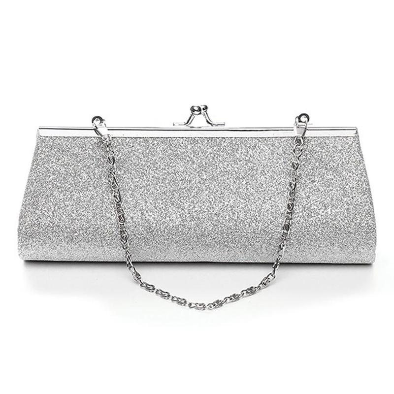 Fashion Women Glitter Silver Colors Clutch Purse Evening Party Wedding Banquet Handbag Shoulder Bag Elegant Bussiness Handbag