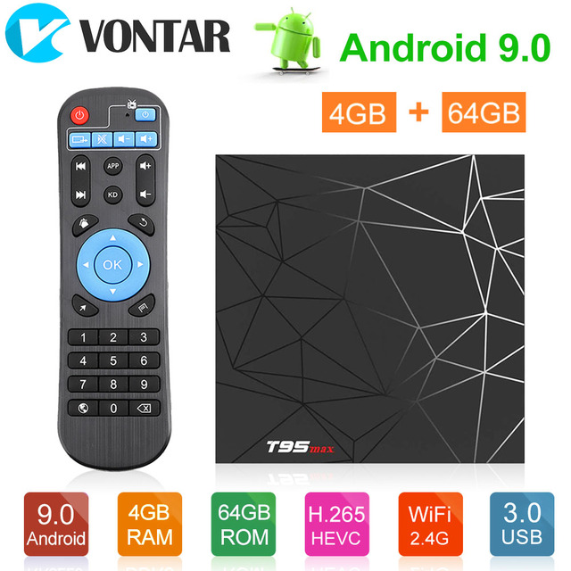 T95max Android TV Box 9.0 4GB 64GB di Smart TV Allwinner H6 Quad Core USD3.0 6K HDR 2.4GHz Wifi Google Player Youtube T95 max