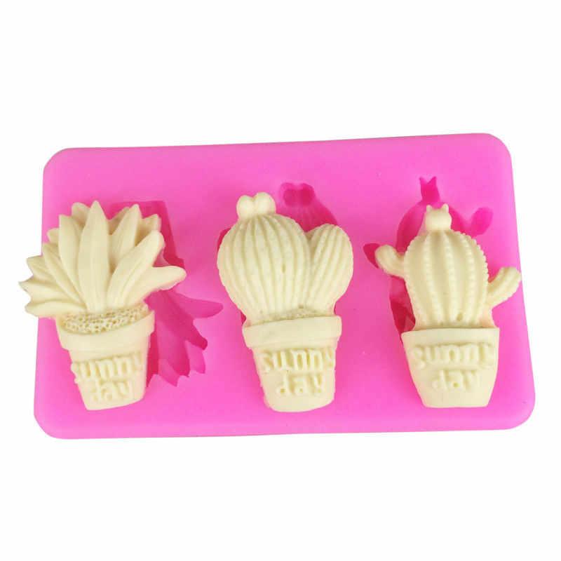 1 шт. 3 D силиконовые формы для шоколада ваза кактус банан candleforms помадка для украшения торта инструменты для выпечки заготовка для мыла паста для жевательной резинки
