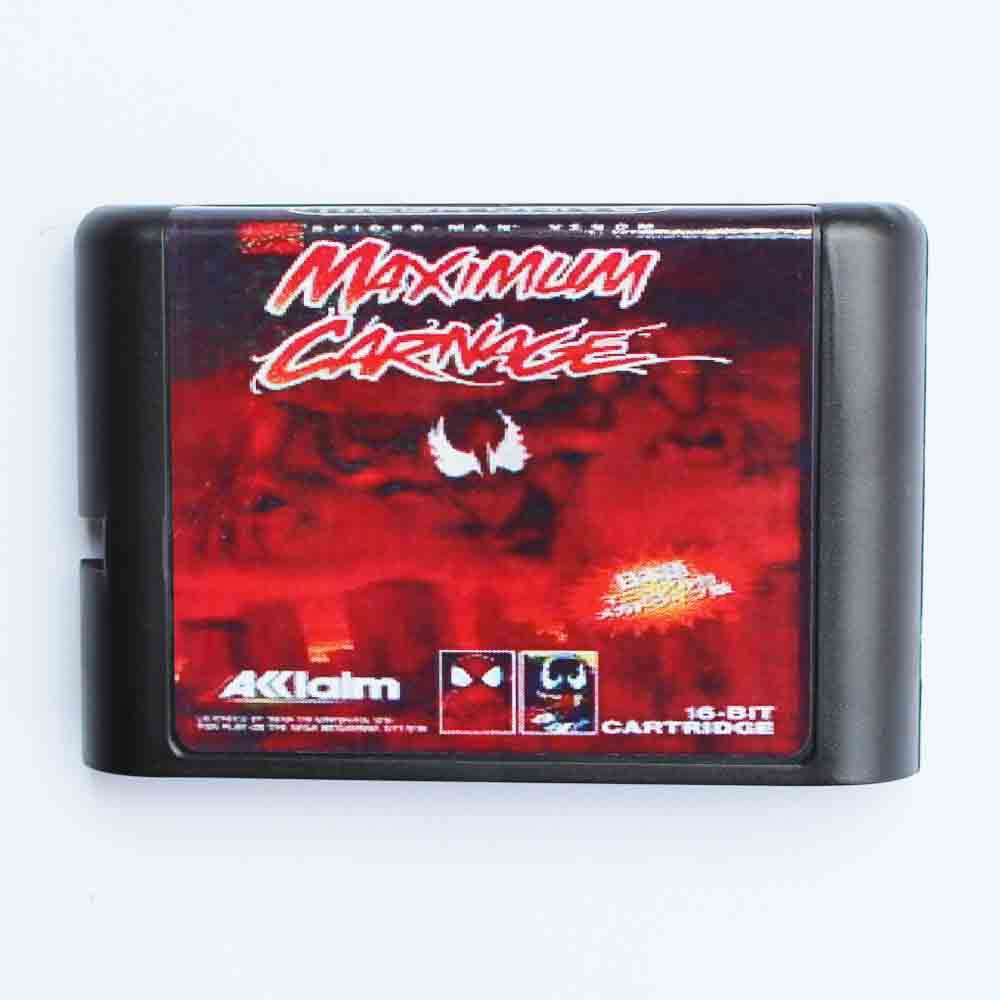 Spider Man and Venom - Maximum Carnage 16 bit MD Game Card For Sega Mega Drive For Genesis mickey mouse castle of illusion