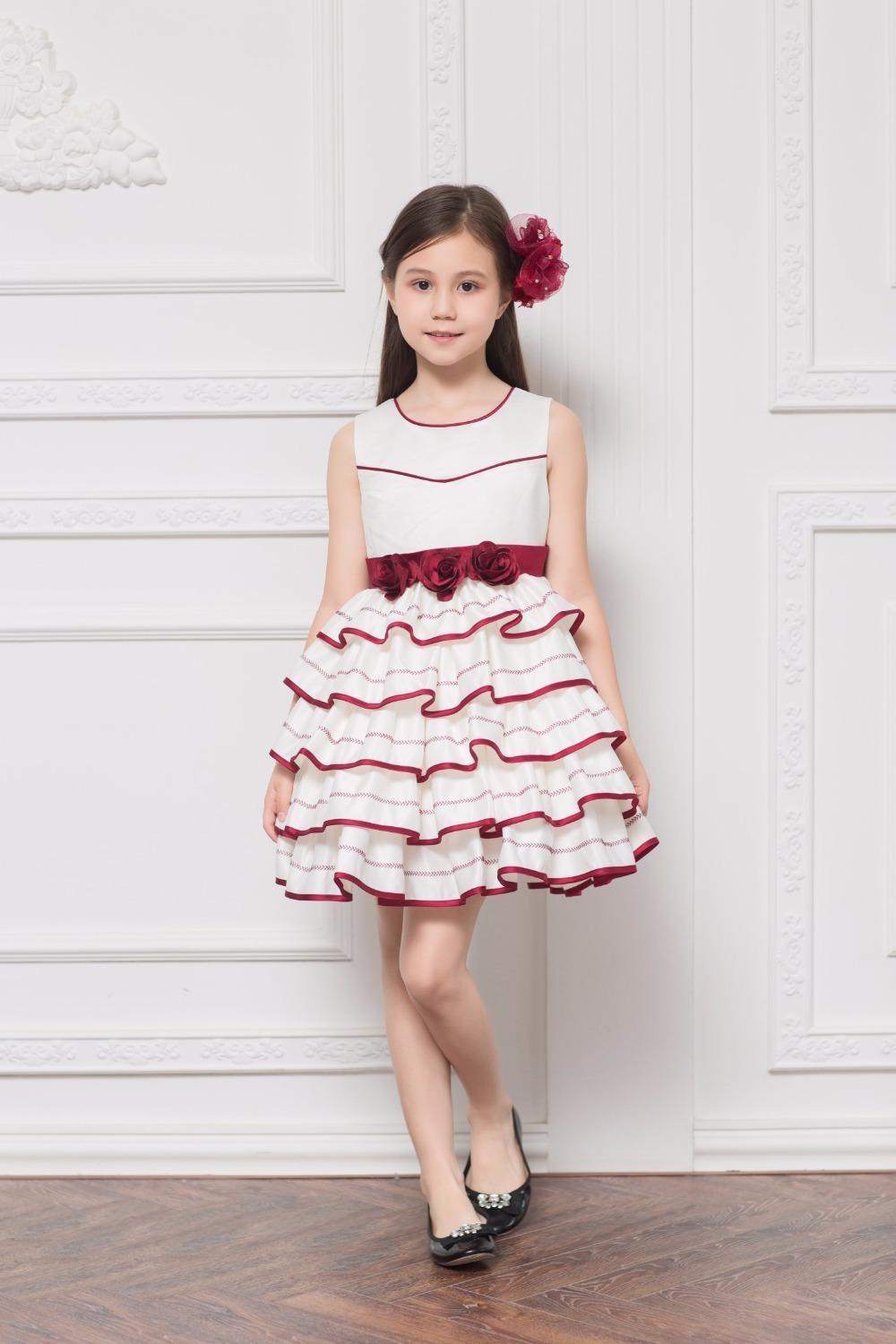 Elegant Embroidery Satin Tiered Ruffles   Flower     Girl     Dresses   for Wedding With Bow Sash First Communion Gowns   Girls   Casual   Dresses