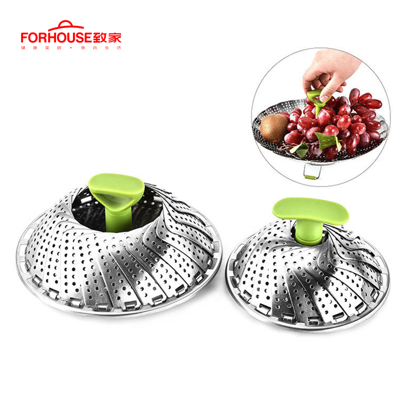 Cookware Stainless Steaming Food Basket Mesh Stainless Steamer Folding Food Fruit Vegetable Vapor Cooker Dish Steamer