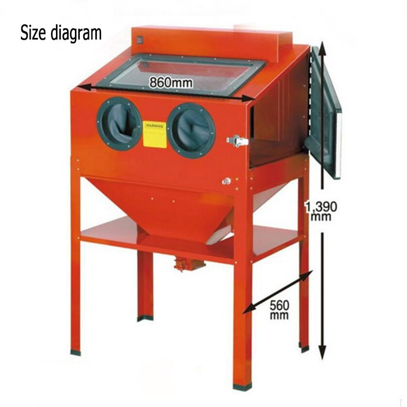 Manual Box Sand Blasting Machine, Derusting, Descaling, Improve The Finish. 220L