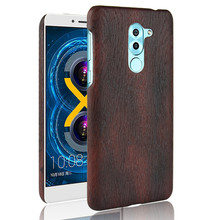 SuliCase Leather Case for Huawei Honor 6x Honor6X Wood Grain Hard Cover PC Frame