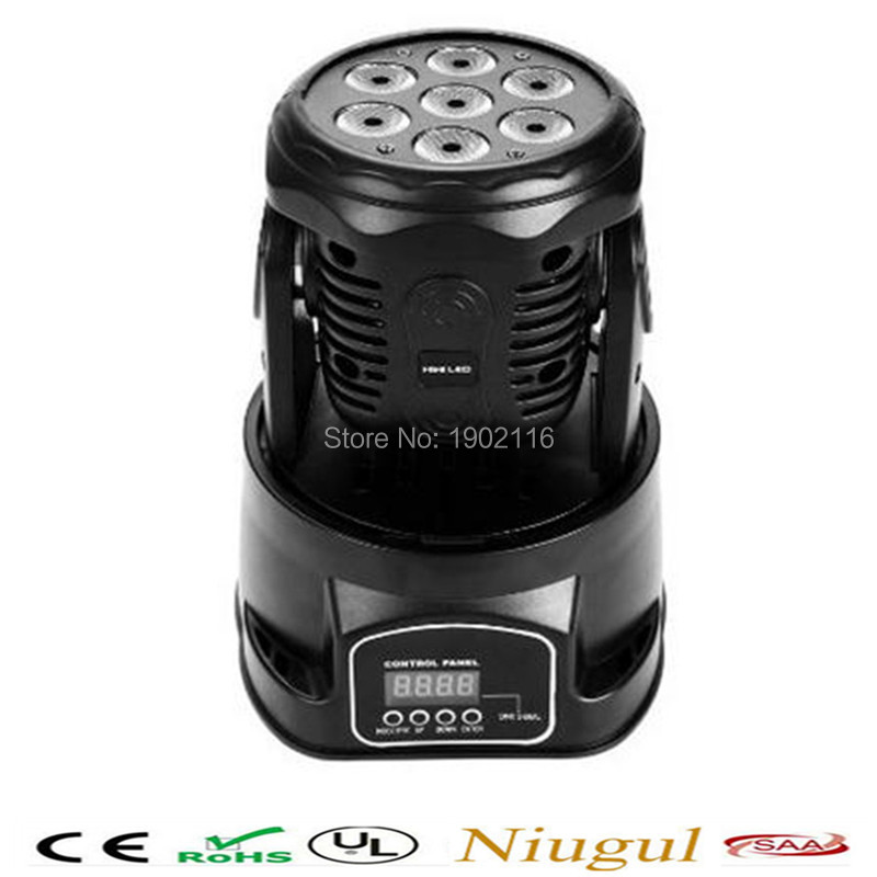 Niugul 7X12W Rgbw 4in1 LED Mini Moving Head light /Dj Disco lighting /DMX stage Party Disco Club ktv rotate ligts/led beam lamps 2pcs lot 10w spot moving head light dmx effect stage light disco dj lighting 10w led patterns light for ktv bar club design lamp