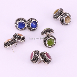 Image 4 - 12Pair Round shape pave crystal rhinestone mix color cat eye stone stud earrings fashion jewelry finding