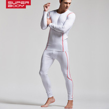 SUPERBODY Low-collar base shirt tight-fitting self-cultivation Winter Mens Warm Thermal Underwear and Long Johns Set
