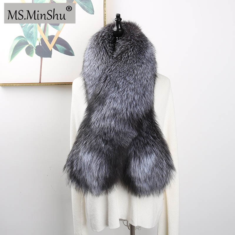 MS MinShu Luxury Genuine Fox Fur Scarf Real Fox Skin Scarf Big Size Natural Fox Fur