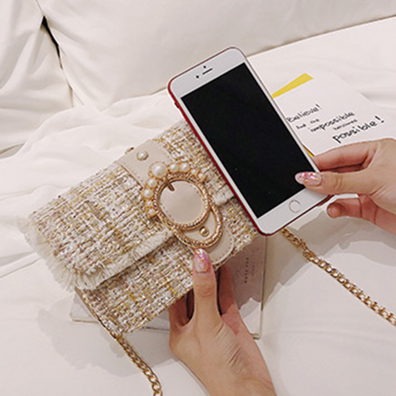 Fashion Women New Knit Flap Shoulder Bag INS Popular Casual Female Tassel Weave Handbag Mini Lady Pearl Chain Crossbody SS3458 (10)