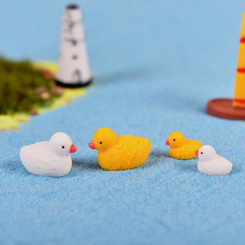 Branco Amarelo Pato Animais Em Miniatura De Fadas Jardim Casas Casa Decoração Artesanato Minecraft Micro Paisagismo Decoração DIY Acessórios