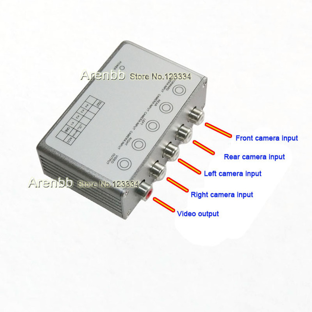 All around view car camera control box for 4 camera system,with combined video control switch,simple for wire connection Front
