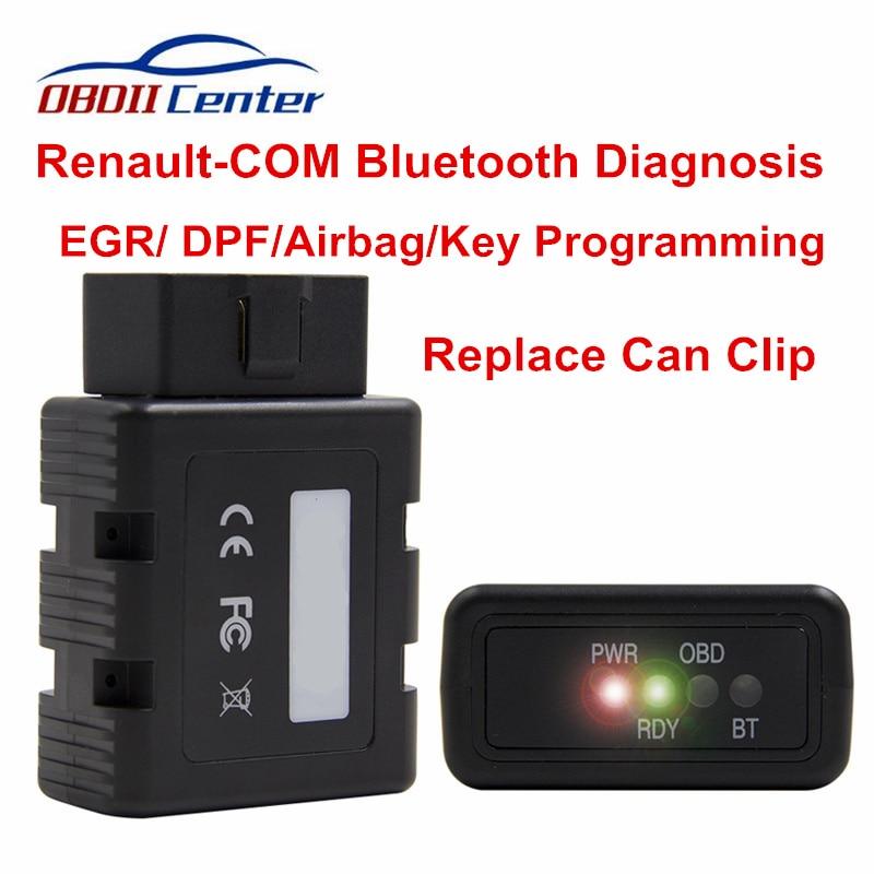 Новый диагностический сканер OBD2 для Renault-COM, Bluetooth, замена Can Clip, полный чип, интерфейс, ключевая программа, ECU, считыватель кодов