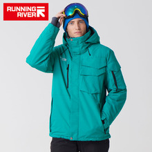 RÍO CORRIENDO Marca Chaqueta Impermeable Para Los Hombres Conjunto Traje de Esquí Hombres Chaqueta de Snowboard De Esquí Masculino Ropa # A3268
