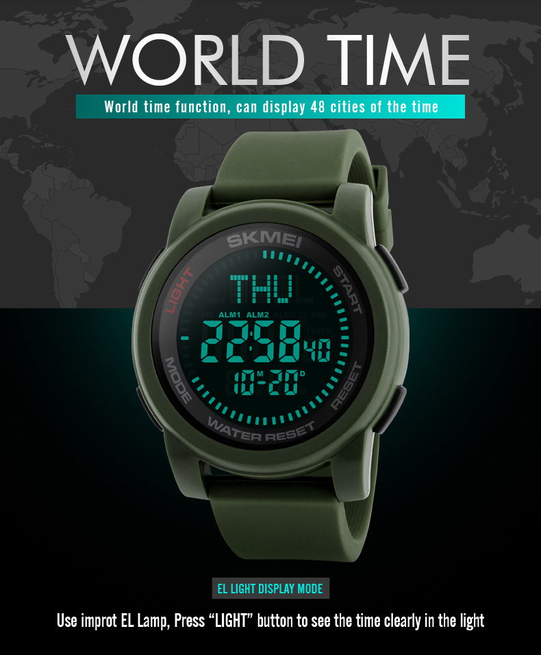 SKMEI 2019 Compass Men Sport Watch 50M Waterproof Man Outdoor Countdown Digital Watch electronic Watch For Men reloj hombre (4)