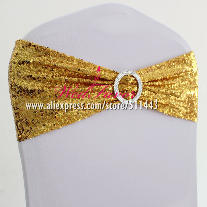 100pcs Wedding Spandex Sequin Chair Sash Bands With Round Buckle Elastic Lycra Glitter Chair Bow Ties