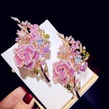 Broches para mulher 9 luxo rosa flor bouquet cúbico zirconia boutonniere jóias finas acessórios de alta qualidade broche