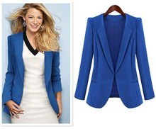 2016 New Thin Coat Jacket Leisure Black Blue Small Suit Tailored Collar Long Sleeve Autumn Winter Jackets Women jaqueta feminina