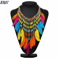 JURAN Bohemia Ethnic Colorful Feather Pendant Necklace Women Multicolor Beads Tassel Chain Statement Necklace