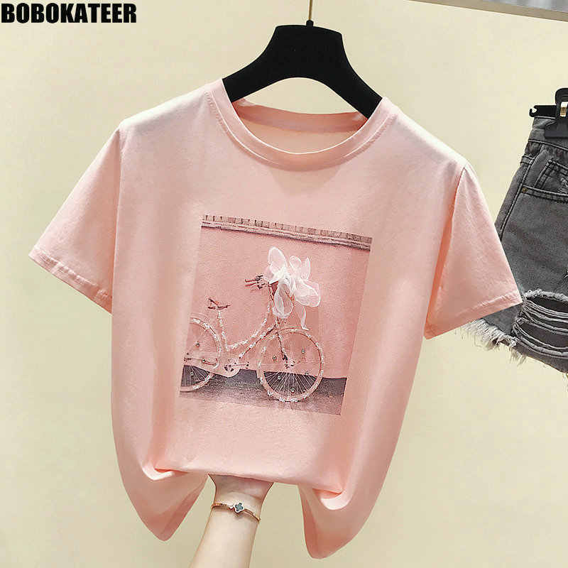 BOBOKATEER Fashion T-shirt Female Summer Tops Kawaii Pink Tee Shirt Femme White T shirt Women Clothes 2019 New Camisas Mujer