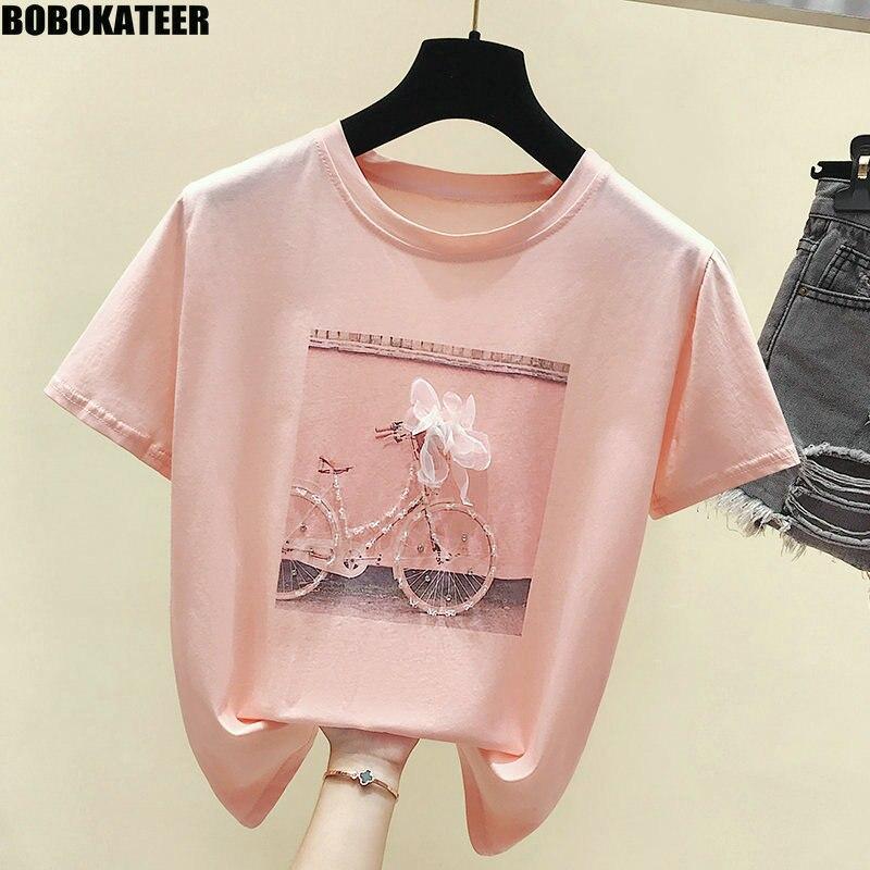 BOBOKATEER Mode T-shirt Weibliche Sommer Tops Kawaii Rosa T Shirt Femme Weiß T shirt Frauen Kleidung 2019 Neue Camisas Mujer