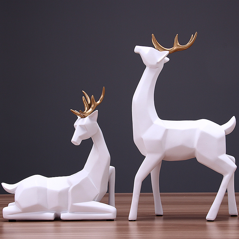 Modern Creative Resin Deer Statue Vintage Figurines Home Decor Geometry Crafts Industrial decoration Resin Animal Figurine