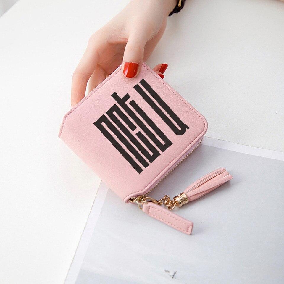 NCT billeteras nuevas coranas mujeres carteras el 7 ° sentido corto cremallera tarjeta cartera chica borla carteras y monederos Mini 3D bolsas de impresión