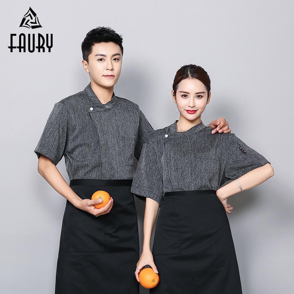 Chef's Jacket Logo Custom Breathable Gray Cotton Linen Jaleco Restaurant Food Service Wholesale Work Barber Uniform Camarero