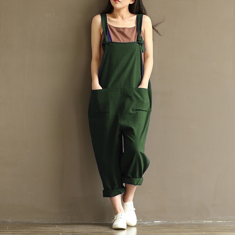 ZANZEA Vintage Women Strappy Solid Rompers Pockets Cotton Linen   Jumpsuits   Dungarees Sleeveless Loose Bib Overalls Plus Size