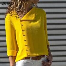 DICLOUD Irregular Plus Size Blouse Women 2019 Fashion Long Sleeve Chiffon Office Lady