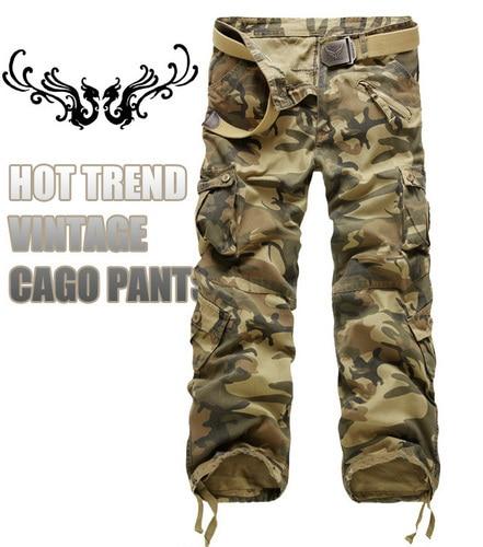Nueva moda de los hombres pantalones de camuflaje militar de carga pantalones monos pantalones 7 colores tamaño 28-40