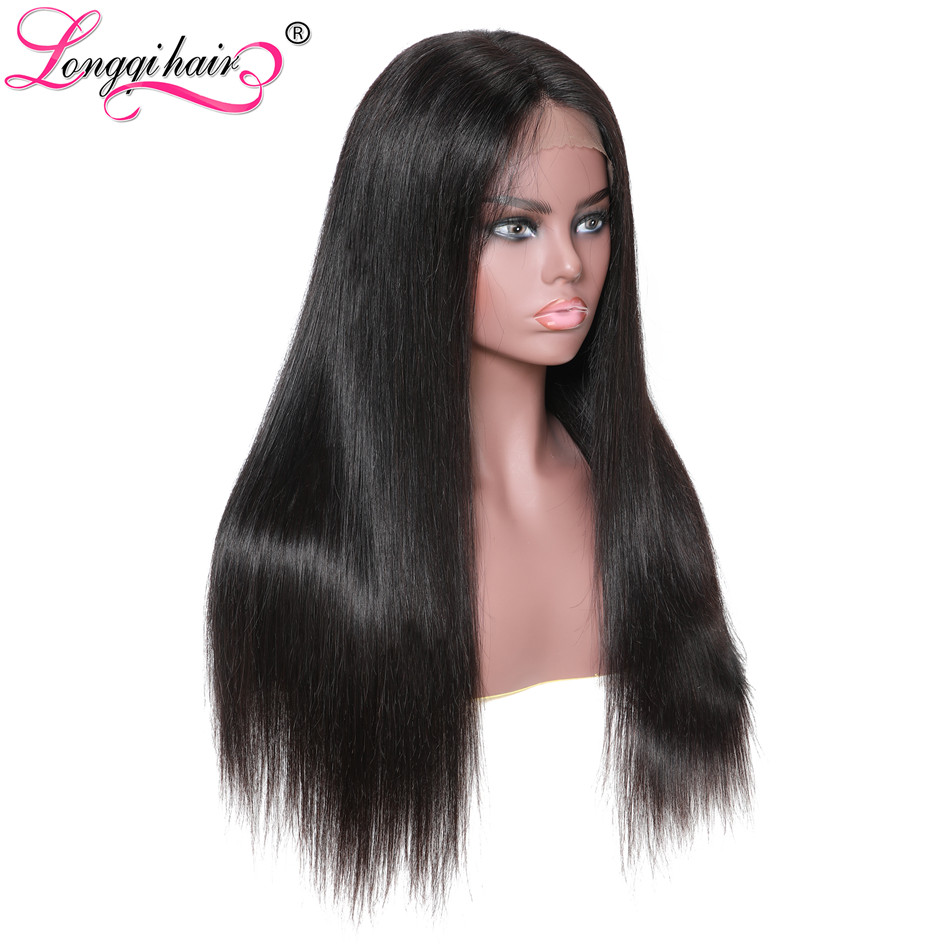 Longqi Peruvian Straight Hair Wig 13x6 Lace Front Remy Human Hair Wig With Baby Hair Pre Plucked 150% Density For Black Women