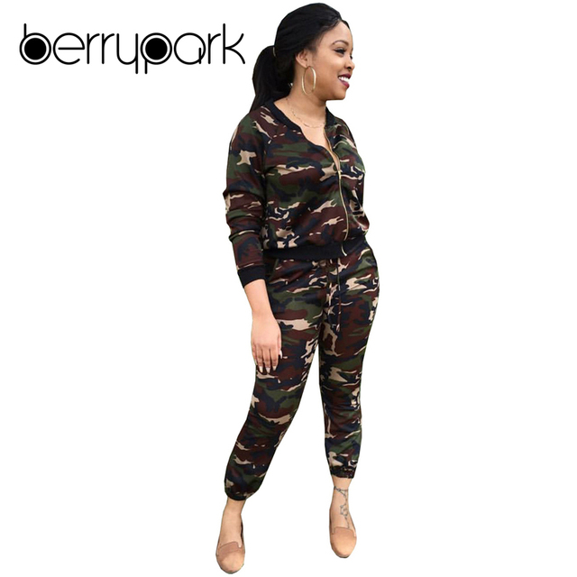 fffb239a2a8 BerryPark Sportsuits 2019 Winter 2 Two Pieces Sets Women Clothing  Camouflage Tracksuits Long Sleeve Top +
