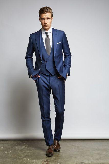 Dernières Manteau Pantalon Designs Bleu Marine De Mariage Hommes Costume  Slim Fit 3 Pièce Smoking Personnalisé 28f8c84ba17