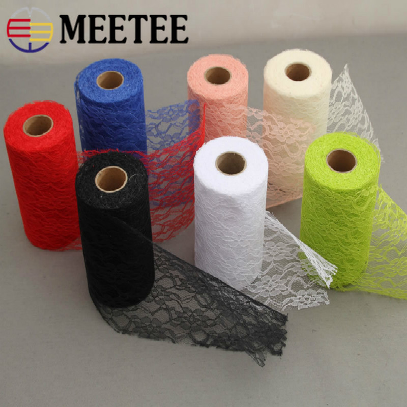 Meetee 22yards 15cm Color Lace Roll Ribbon Fabric DIY Handmade Wedding Party Chair Clothing Home Decor Sewing Material BD342
