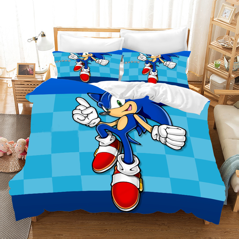 Sonic The Hedgehog Anime 3d Bedding Set Duvet Covers Pillowcases Super Mario Bros Comforter Bedding Sets Bedclothes Bed Linen