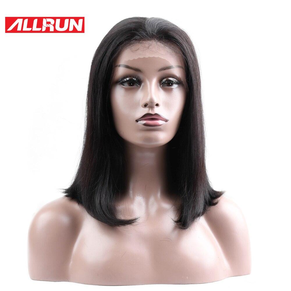 ALLRUN Hair Brazilian Non Remy schweizisk snör åt mittpartiet - Mänskligt hår (svart)
