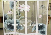 Hand painted silk painting lotus with fishes/birds for screen without frame hand painted many pictures and backgrounds optional