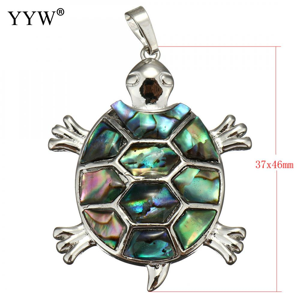 YYW New Arrival Lucky Animal Real Natural Abalone Shell Pendants Mother of Pearl Mussel Shell Turtle Charm Pendants Jewelry Men