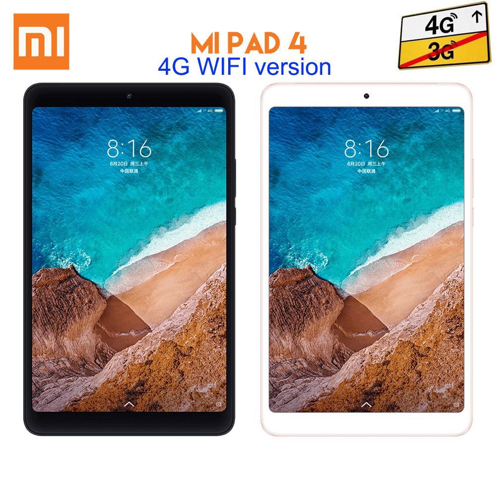 Original Xiaomi Mi Pad 4 Tablet 4GB RAM 64GB ROM Qualcomm Snapdragon 660 Octa Core 8.0 inch MIUI 9 WiFi 4G LTE Version original xiaomi mi pad 4 tablets wifi lte 4gb 64gb 8 0 inch tablet pc snapdragon 660 aiecore 12 0mp 5 0mp 6000mah tablet android