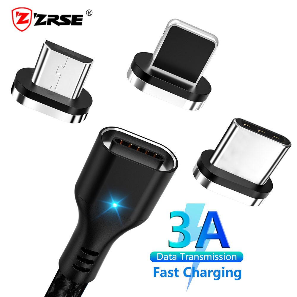 ZRSE Magnetic Micro Usb Cable For Iphone Samsung 3A Fast Charging Data Wire Cord Magnet