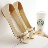 Lady S Hot Sell Bowtie Soft Comfortable Peep Toe Low Heels Thin Shoes Driving Shoes In
