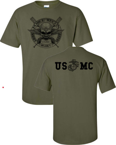 2019 Summer <font><b>T</b></font> <font><b>Shirt</b></font> Cotton <font><b>T</b></font> <font><b>Shirts</b></font> Man Clothing Marine Corps Force Recon <font><b>USMC</b></font> Military Front & Back Print Men's Tee <font><b>Shirt</b></font> image