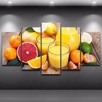 De Vidro de frutas Laranjas 5 Peças Da Lona Arte Da Parede Pintura Pictures Imprimir Em Canvas Comida A Imagem Para a Decoração Home Moderna
