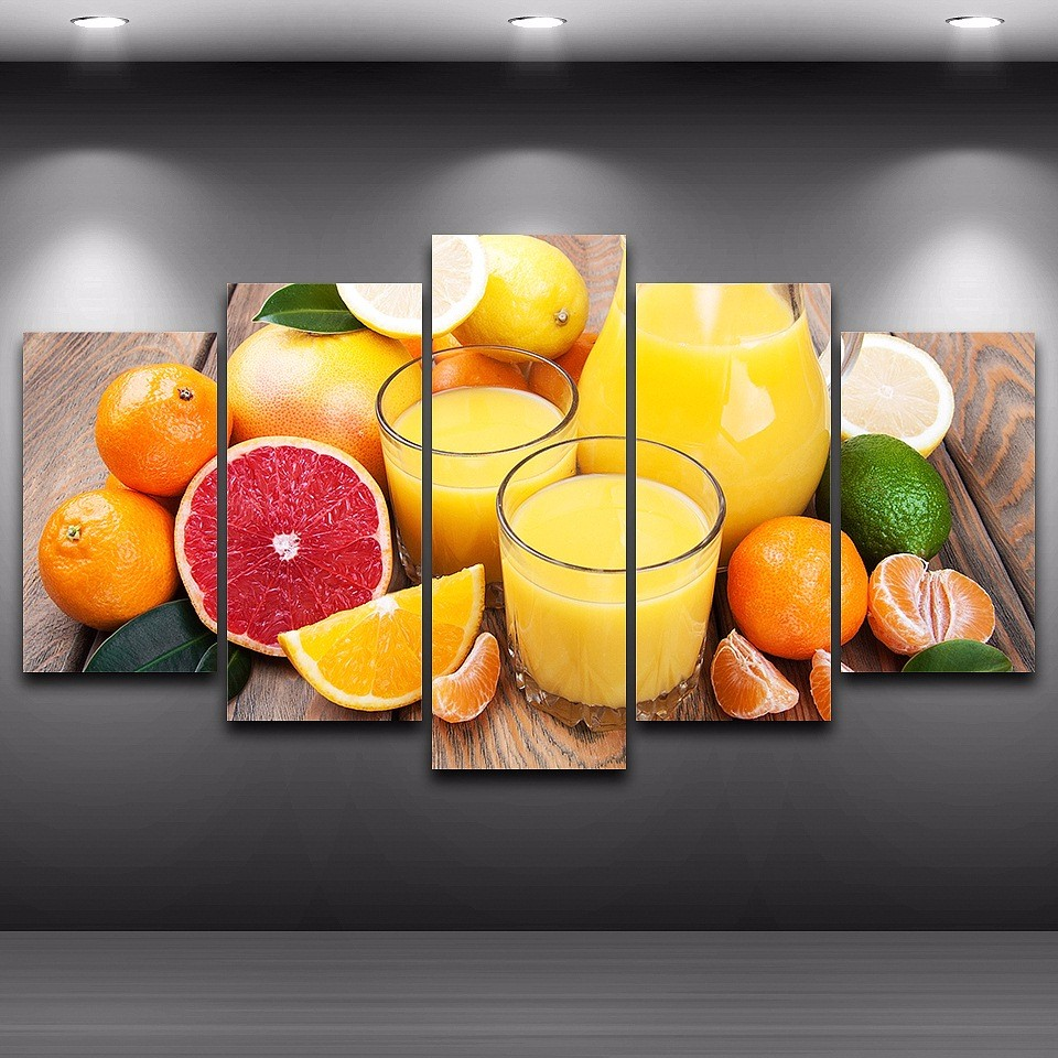 Fruit Oranges Glass 5 Pieces Canvas Wall Art Painting Pictures Print ...
