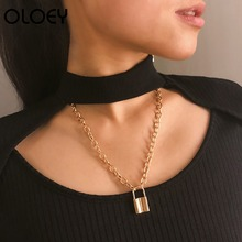 OLOEY Retro Punk Necklace Women New Trendy Geometric Alloy Sweater Chain Female Lock-shaped Necklaces Jewelry Accessories