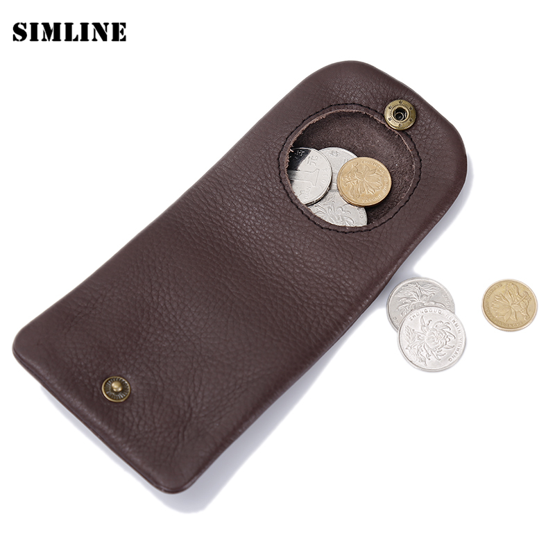 SIMLINE Genuine Leather Coin Purse Woman Men Vegetable Tanned Cowhide Mini Small Wallet Wallets Purses Pocket Case Bag Holder brand handmade genuine vegetable tanned leather cowhide men wowen long wallet wallets purse card holder clutch bag coin pocket page 1