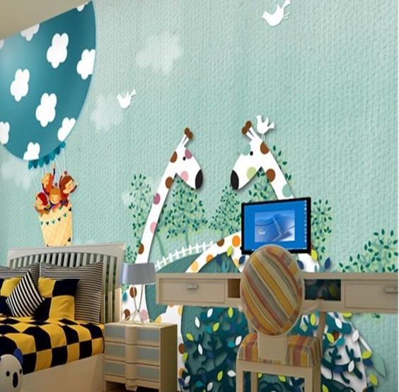 Custom waterproof large mural green wallpaper wall paper 3D stereoscopic cartoon children's room sofa bedroom wall giraffe