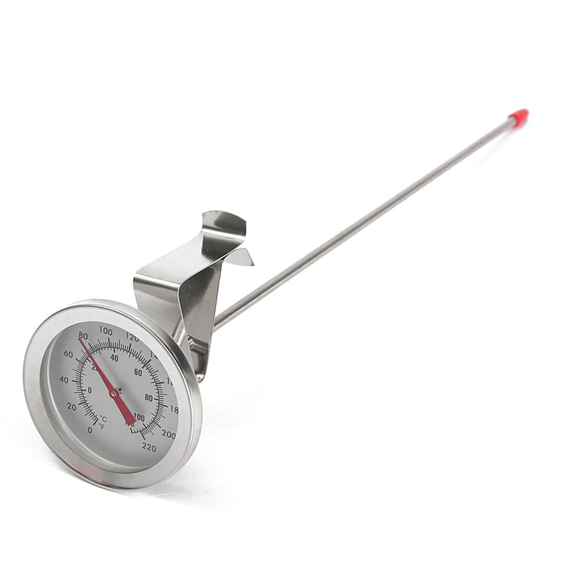 Brew Kettle Thermometer Side Clip 304 Stainless Steel Homebrew Beer Probe Thermometer -10-100 C 0-220 F Dial Face