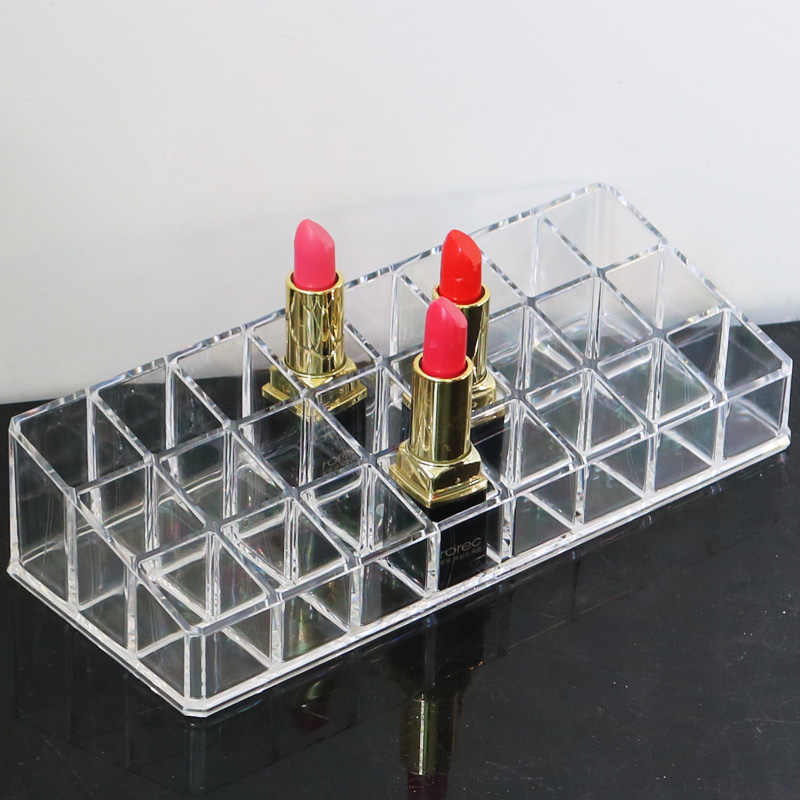 Clear 24 Grid Cosmetic Makeup Organizer Lipstick Holder Display Acrylic Storage Box Lipstick Makeup Storage Box