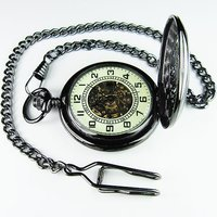 2010 New Unique Luminous Vintage Noctilucence Black Pocket Watch